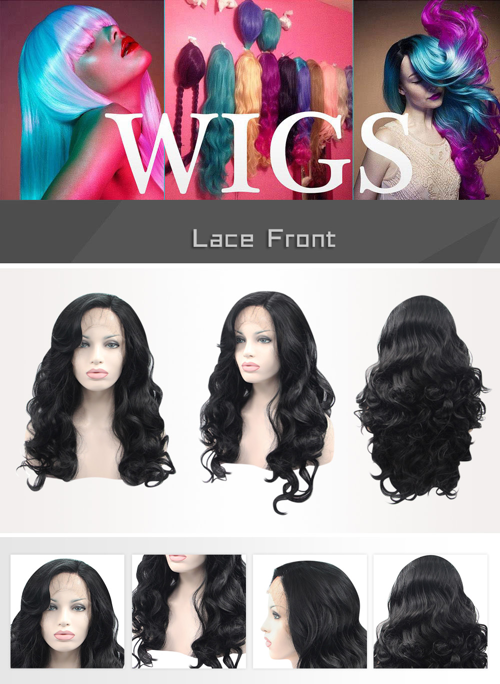 Kinky Loose Body Wave Synthetic Hair Lace Front Wigs for Women