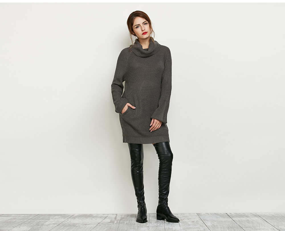 Fashion Turtleneck Long Sleeve Knitted Pure Color Pocket Design Women Sweater Dress