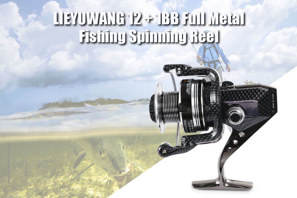 LIEYUWANG 12 + 1BB Full Metal Fishing Spinning Reel with Exchangeable Quincuncial Handle