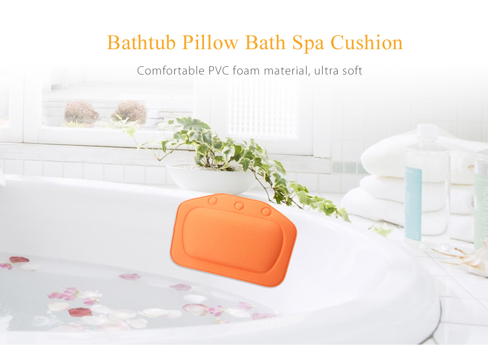 Non-slip Water Resistant PVC Bathtub Pillow Bath Spa Relaxing Cushion with Suction Cups