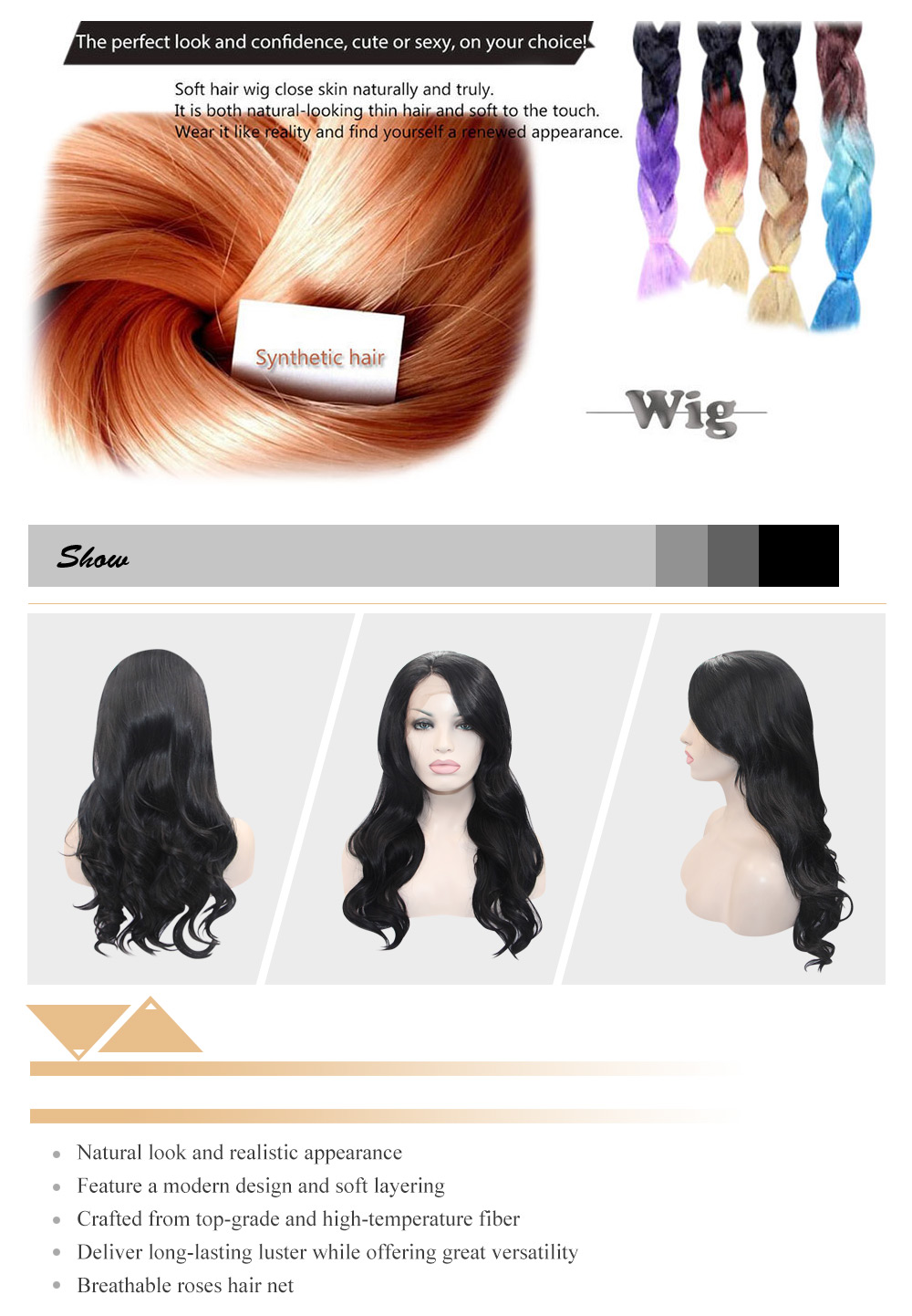 Long Black Body Wave Lace Front Wig Heat Resistant Synthetic