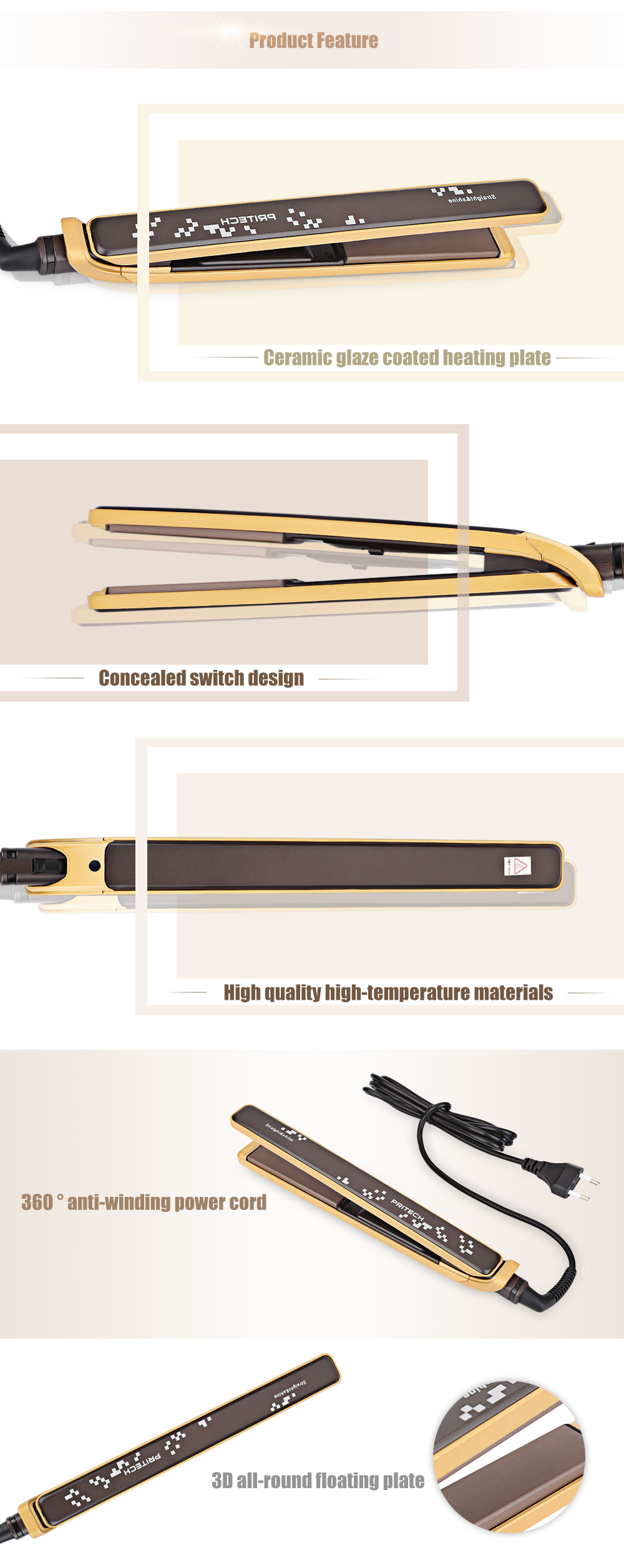 PRITECH TA - 2192 Hairstyle Portable Electronic Ceramic Hair Roll Straight Dual-use Straightener