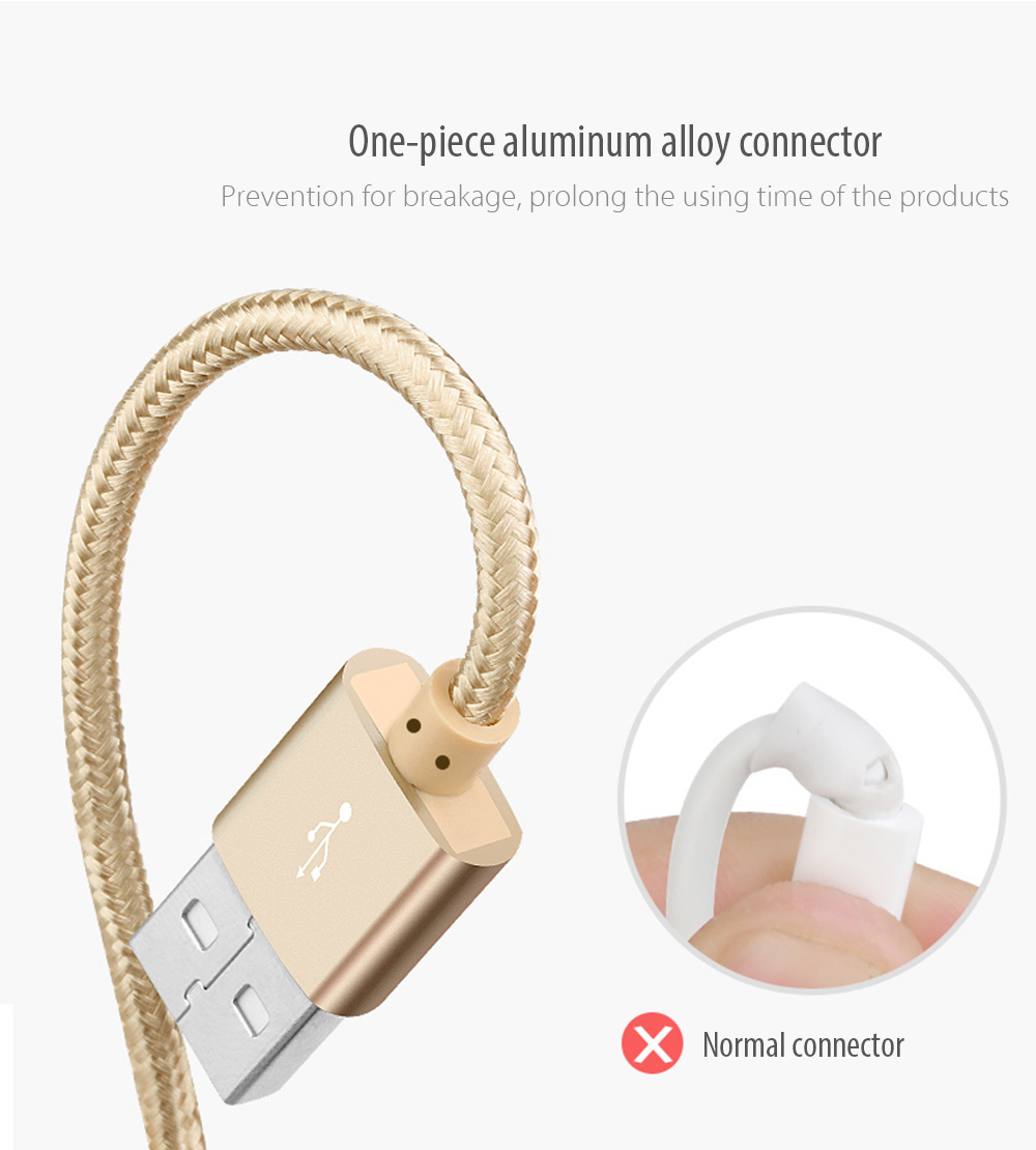 Awei CL - 10 Micro USB Mini Nylon Braided Charge Data Transfer Cable 0.3m