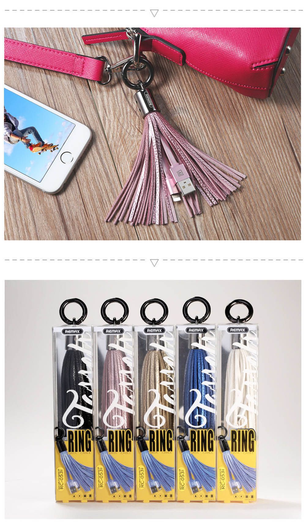 REMAX RC - 053i 8 Pin Ring Tassels 3A Charging Data Transmission Flat Cable