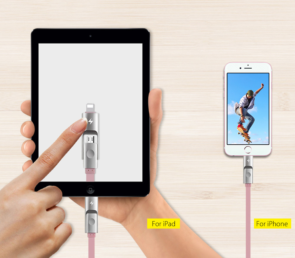 Awei CL - 989 2 in 1 Micro USB + 8 Pin Noodle Charge Data Transfer Cable 1m