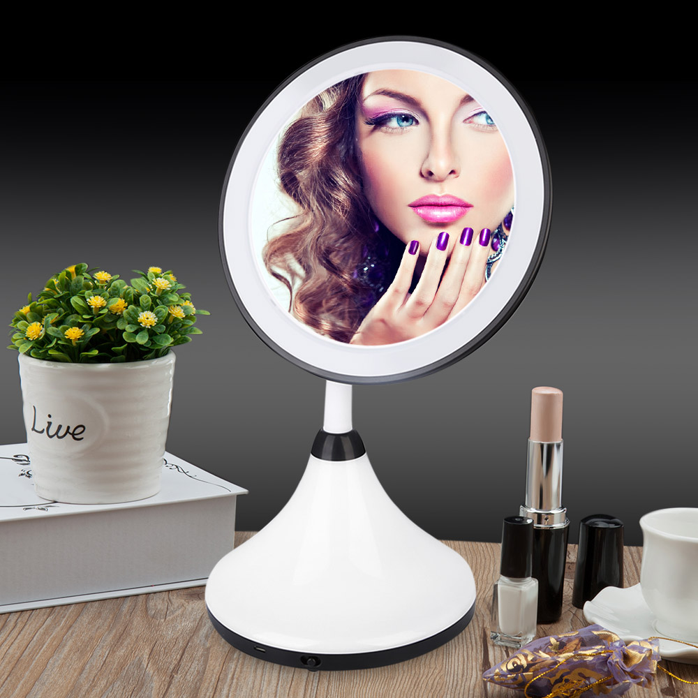 Adjustable Countertop Rotating LED Touch Screen Makeup Mirror