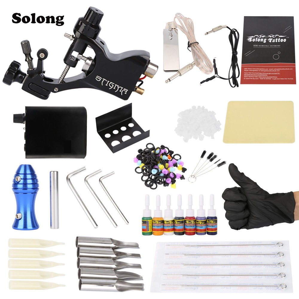 Solong Complete Tattoo Kit Professional Machine Gun 7 Inks Needle Grips Power Supply