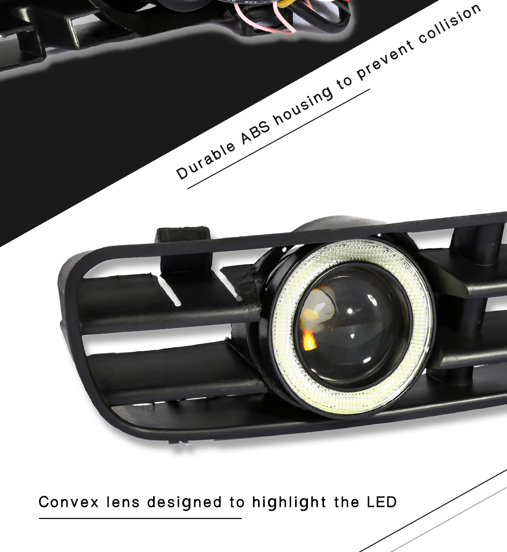 Pair of Front Bumper Fog Lamp Grille LED Light Convex Lens Foglight for Volkswagen Golf MK4