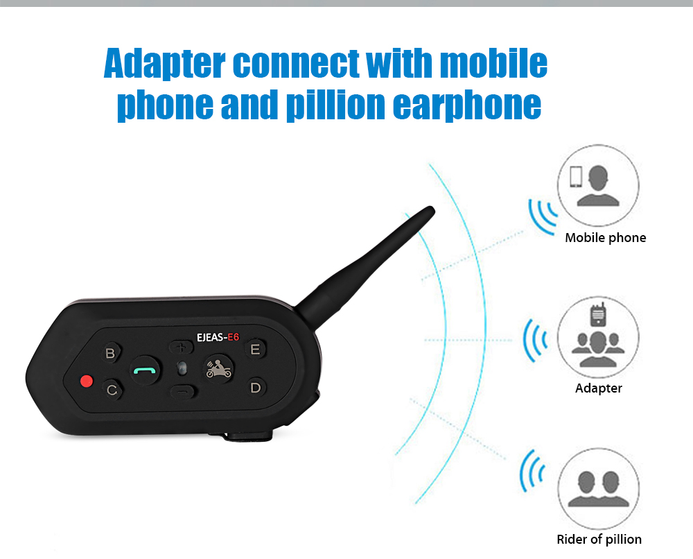 Pair of EJEAS - E6 Motorcycle Bluetooth Riding Intercom Two People Full Duplex Talking 1300M Effective Range