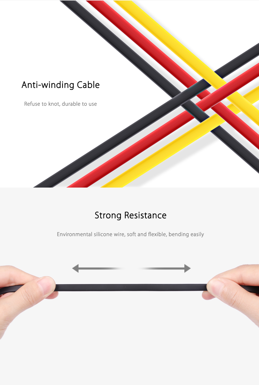 REMAX RC - 001m Micro USB Fast Charging Data Transmission Silicone Flat Wire 1M
