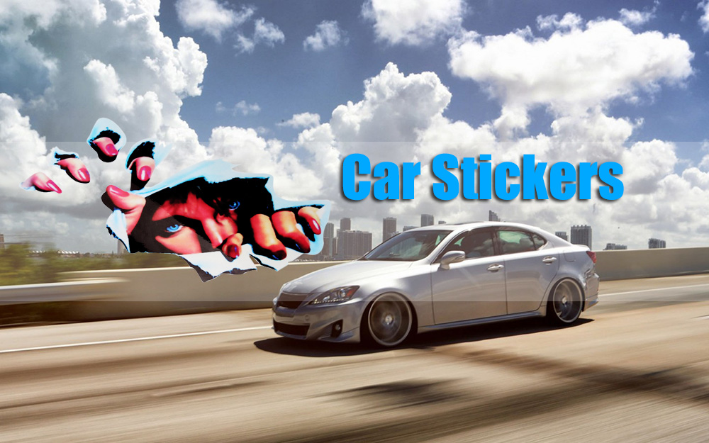 3D Stereo Simulation Thriller Eyes Car Walls Sticker Funny Decals
