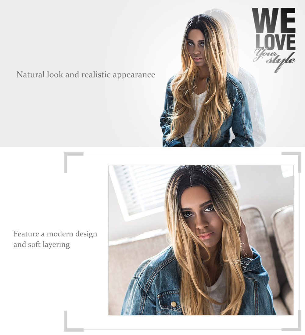 AISIHAIR Long Middle Parting Natural Straight Gradient Brown Wigs for Women