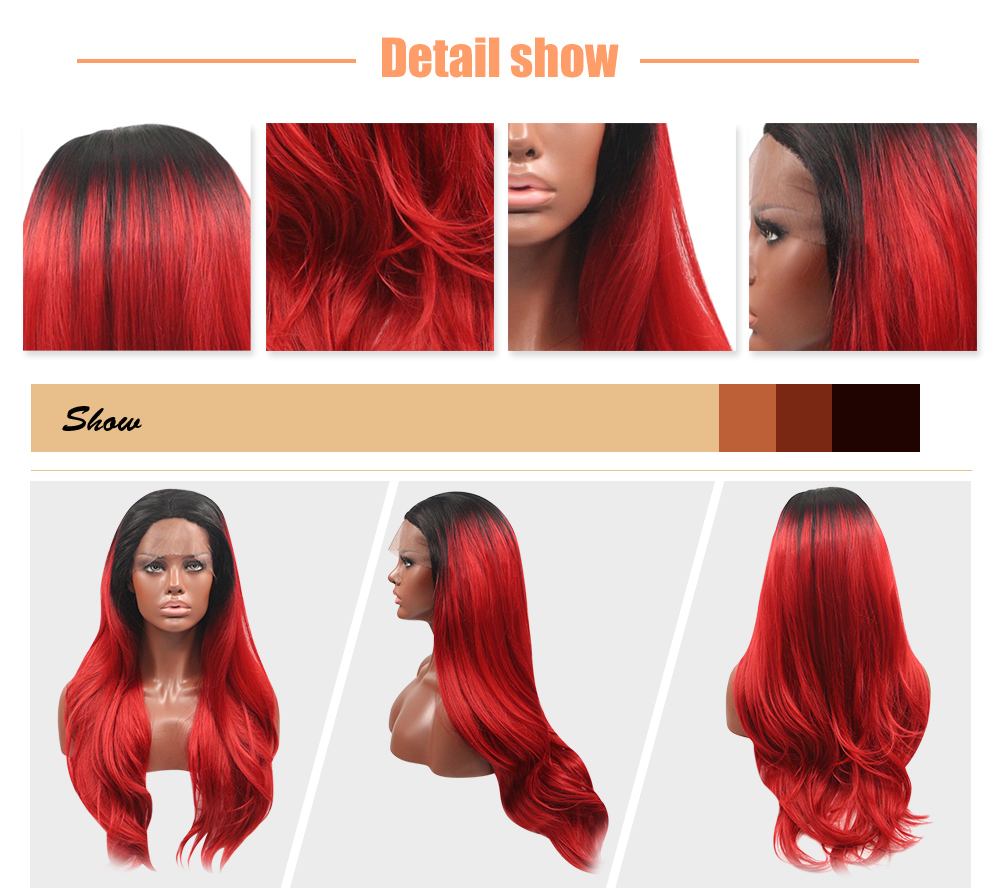 Ombre Gradient Colors Natural Wavy Synthetic Lace Front Wigs for Women