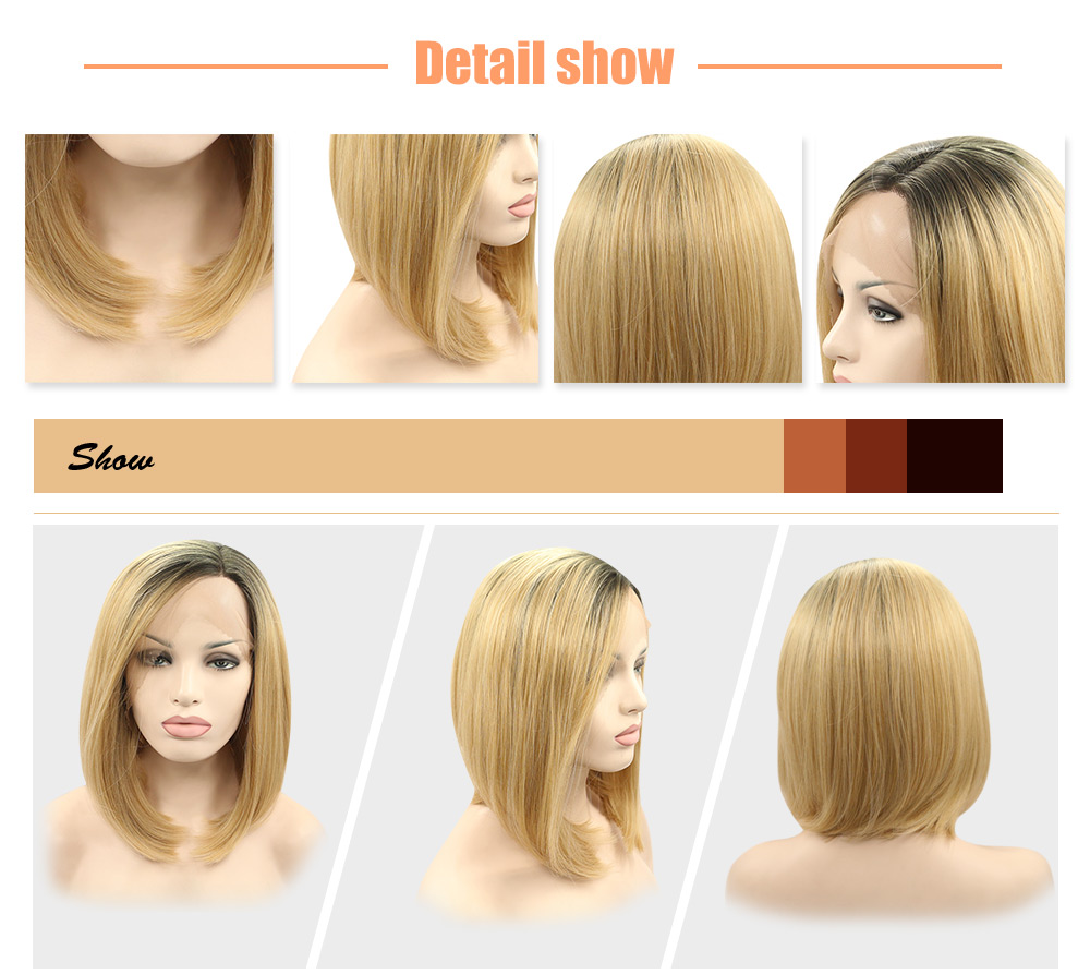 Ombre Bob Gradient Dark Root Straight Synthetic Lace Front Wigs for Women