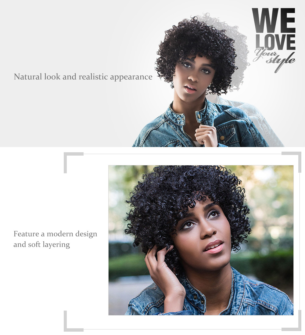 AISIHAIR Women Short Fluffy Black Afro Curly Synthetic Hair Wigs with Bangs