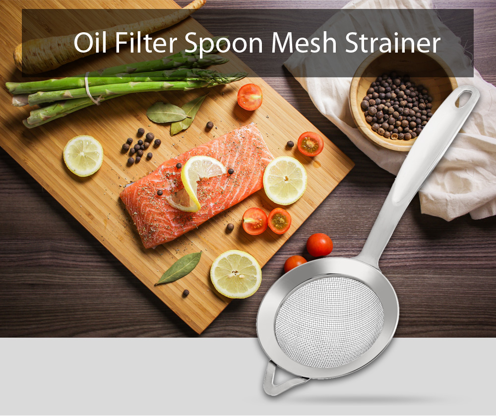 Stainless Steel Mesh Oil Filter Grease Fishing Spoon Kitchen Tool