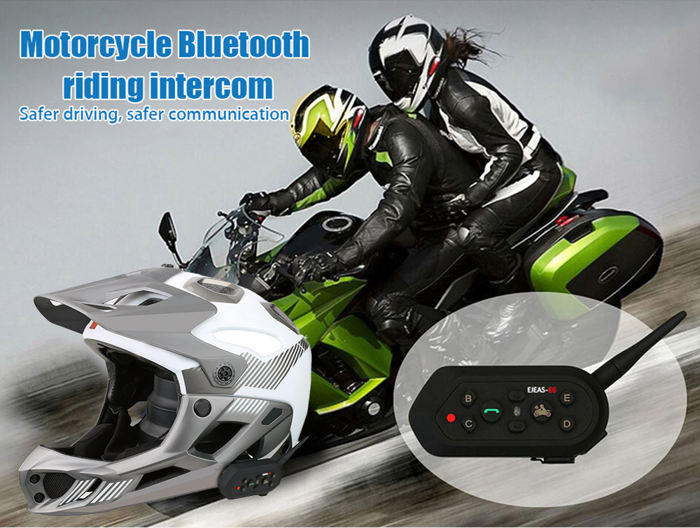 EJEAS - E6 Motorcycle Bluetooth Riding Intercom Two People Full duplex talking 1300M Effective Range