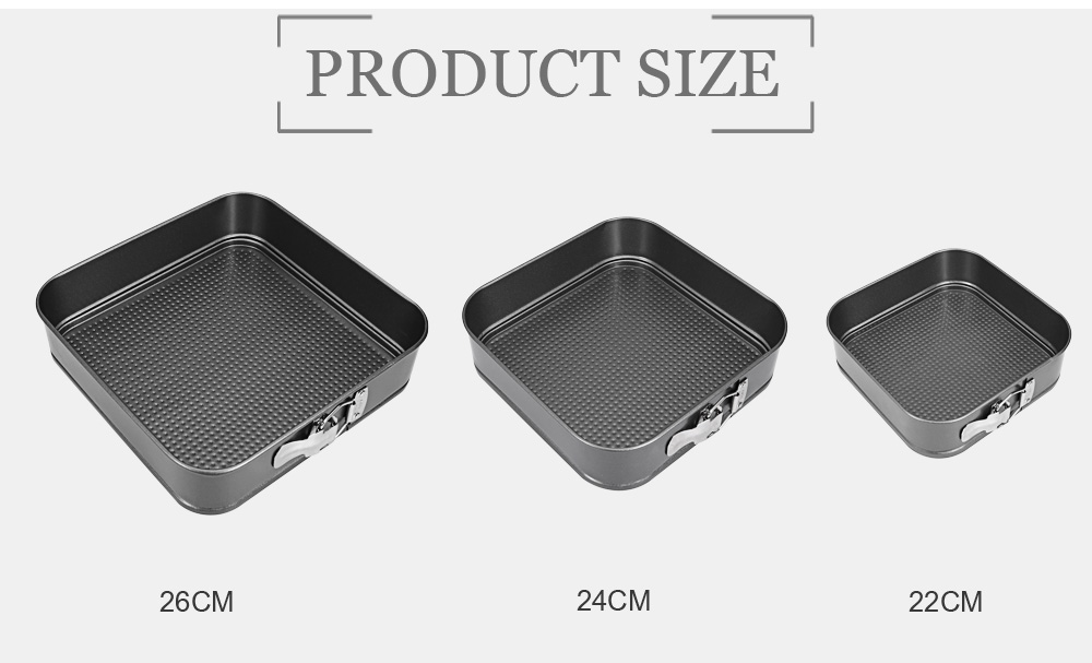 3pcs Non-stick Rectangular Carbon Steel Cookies Cake Pan