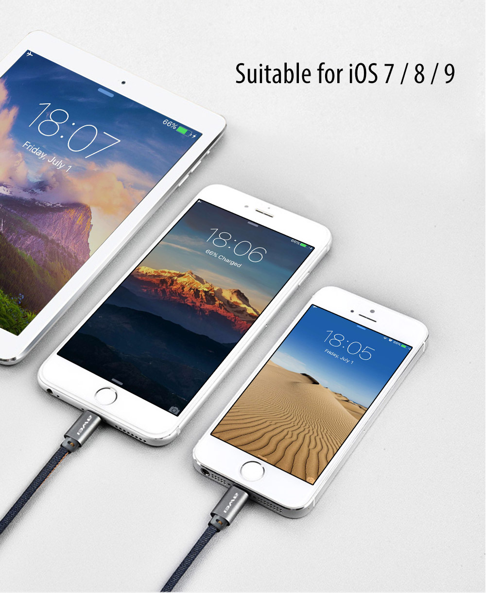 Awei CL - 987 Jeans Fabric / Leather 8 Pin + Micro USB Charge Data Transfer Cable 1M