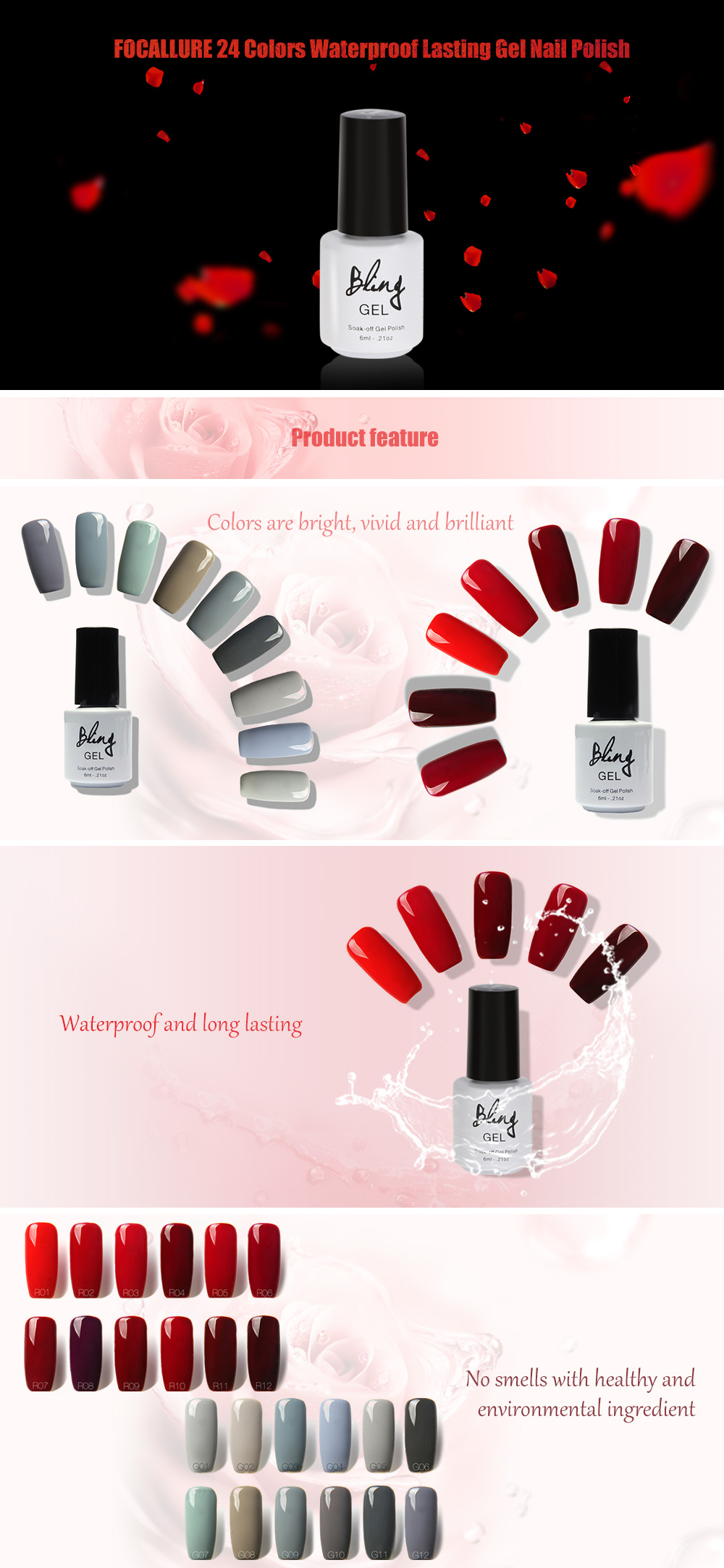 FOCALLURE 24 Colors Fashionable Charming Long Lasting Manicure Gel Nail Polish