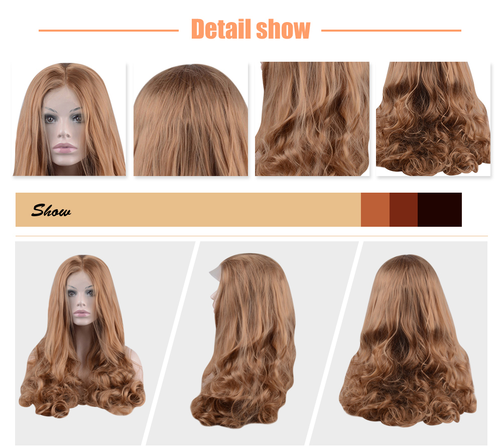 Long Light Brown Wavy Centre Parting Synthetic Lace Front Wigs for Women