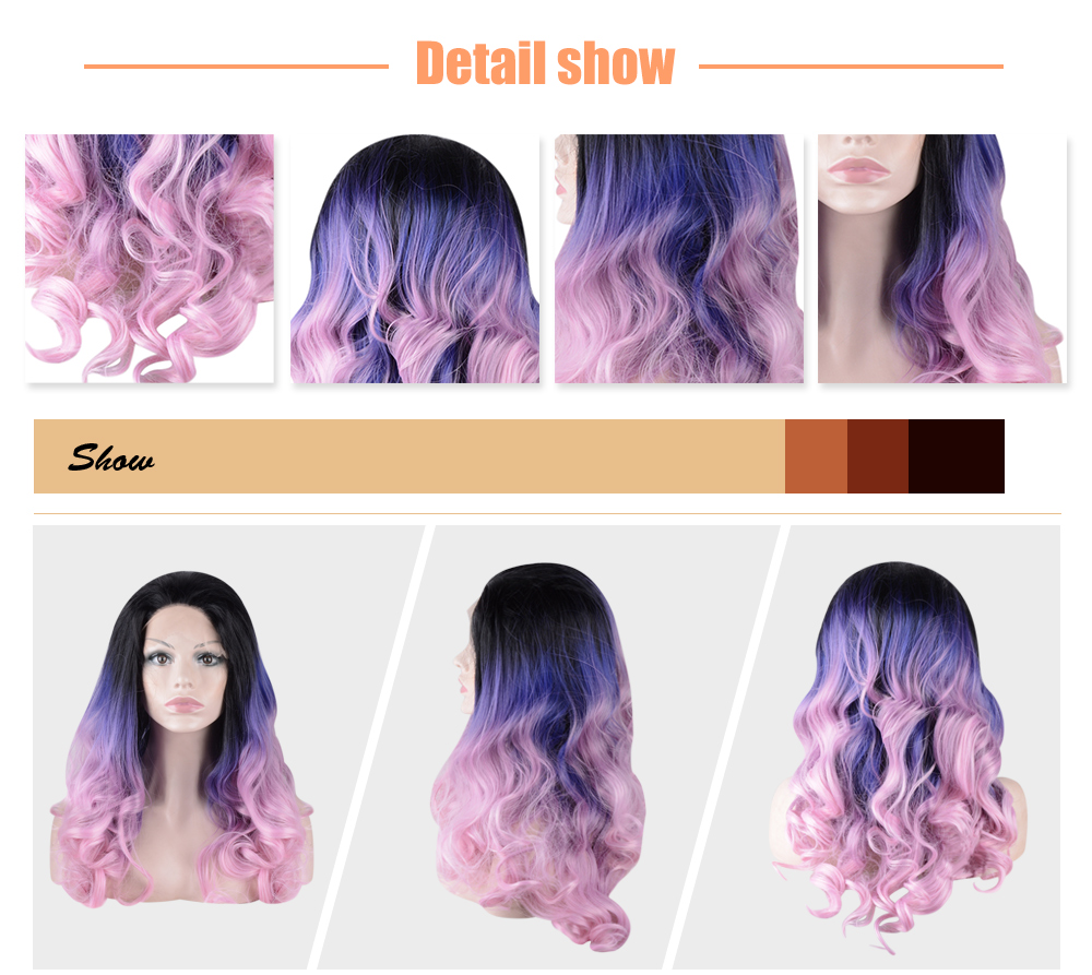 Harajuku Long Colorful Wavy Side Parting Synthetic Lace Front Wigs for Women