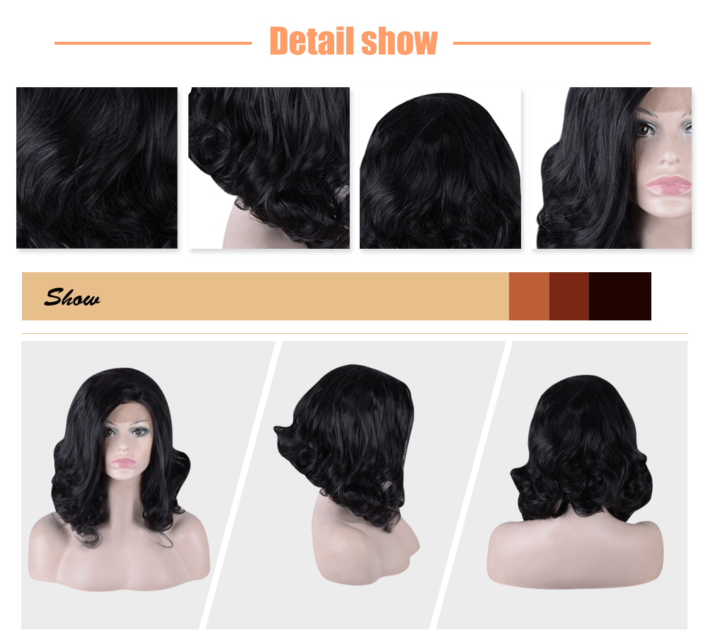 Medium Black Wavy Side Parting Synthetic Lace Front Wigs for Women