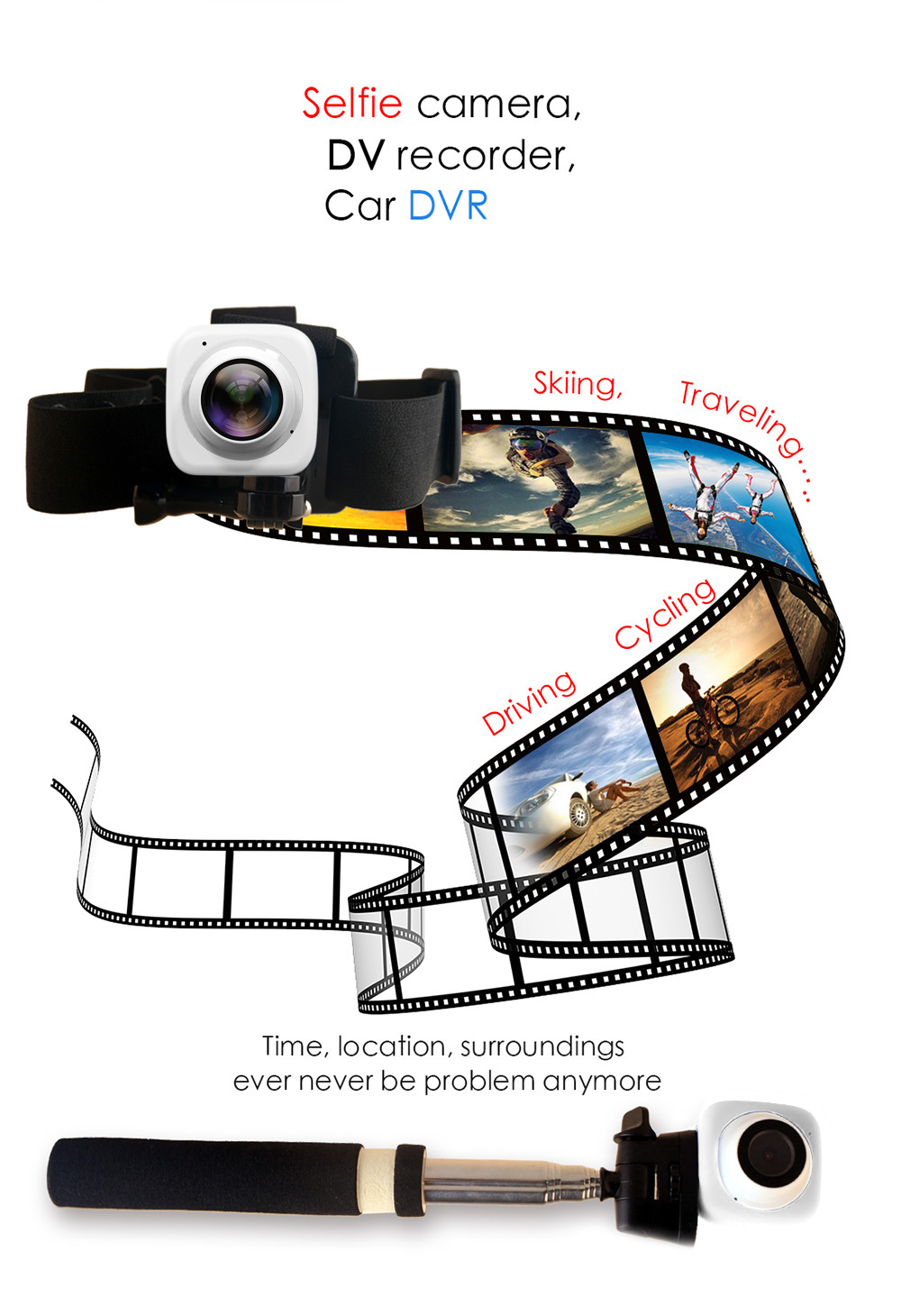 720P 30fps WiFi Selfie Timer Sport Action Camera with 8G Micro SD Card
