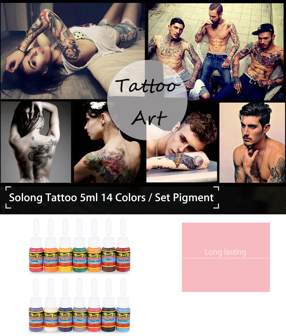 Solong Tattoo 5ml 14 Colors / Kit Long Lasting Pigments Inks