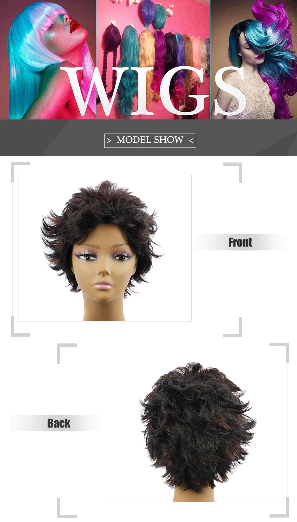 AISIHAIR Women Short Slightly Curly Black and Coffee Synthetic Wigs