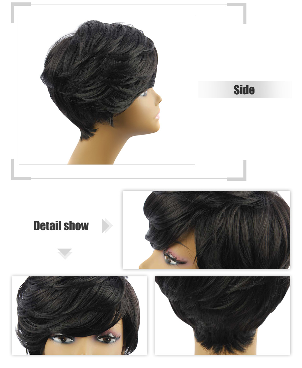 AISIHAIR Short Slightly Curly Black Synthetic Wigs Side Bangs for Women