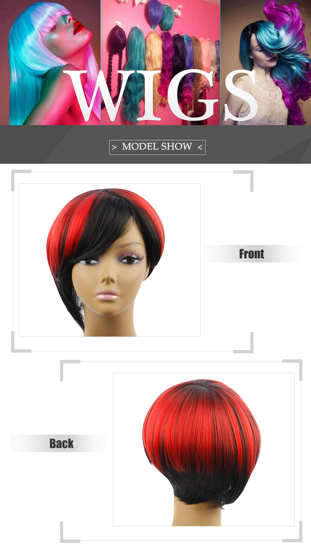 AISIHAIR Short Black Gradient Rose Red Side Bangs Wigs Synthetic Hair for Women