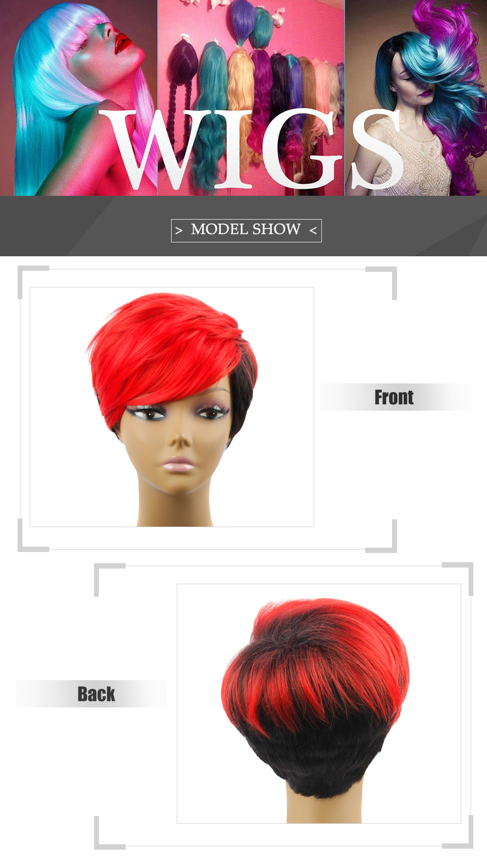 AISIHAIR Women Short Gradient Color Straight Asymmetrical Side Parting Synthetic Wigs