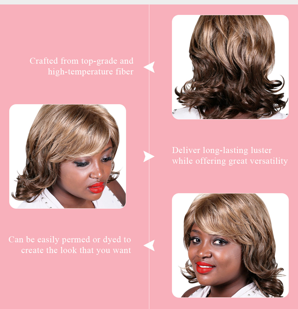 Qianbaihui Layered Short Tail Upwards Fluffy Side Parting Synthetic Wig for Women