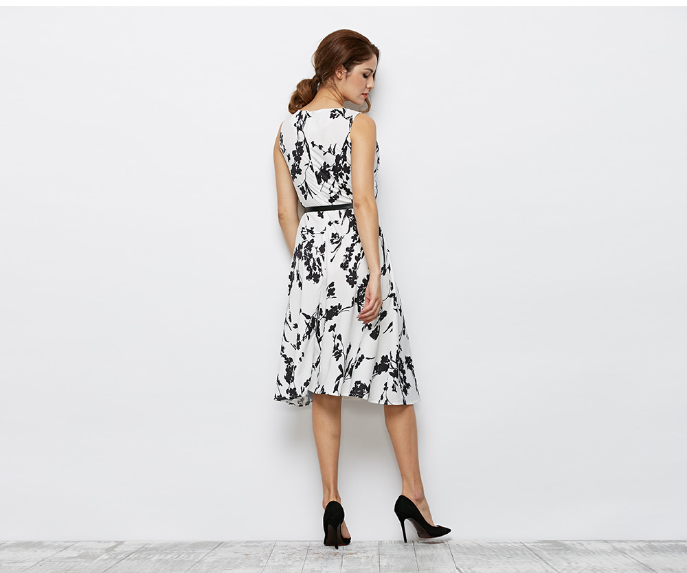 Old Classical  Style Round Collar Sleeveless Floral Print Sheath Women Dress with Belt