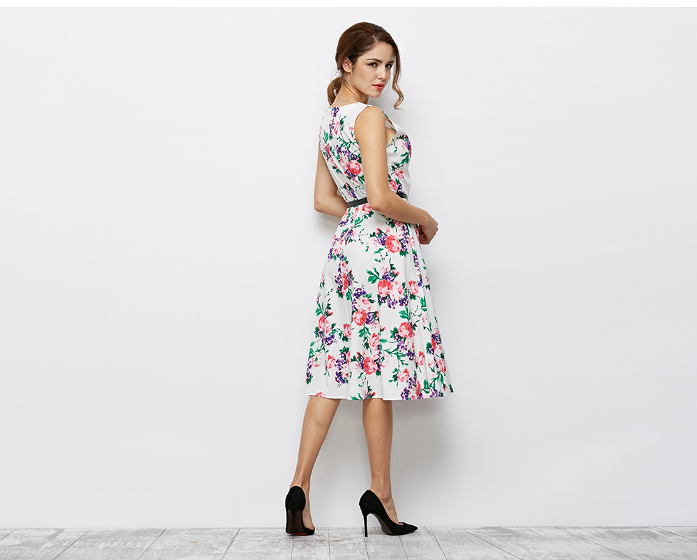 Elegant Round Collar Sleeveless Allover Floral Print Women Dress with Belt