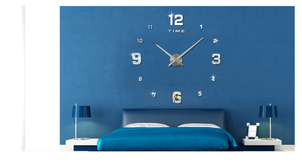 M Sparkling Diy Mirror Wall Stickers Clock 12 55 Online
