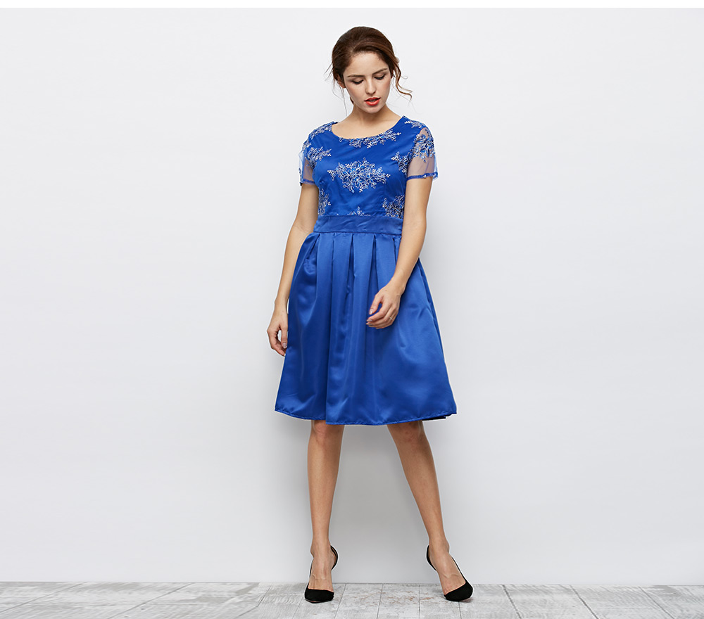 Fashion Round Collar Short Sleeve Floral Print Lace Spliced Women Dress