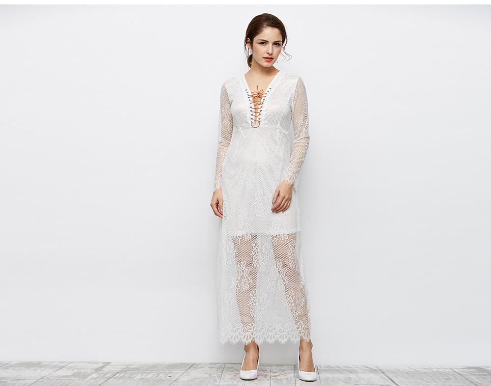 Elegant Plunging See-through Sleeve Criss-cross Pure Color Lace Spliced Women Dress