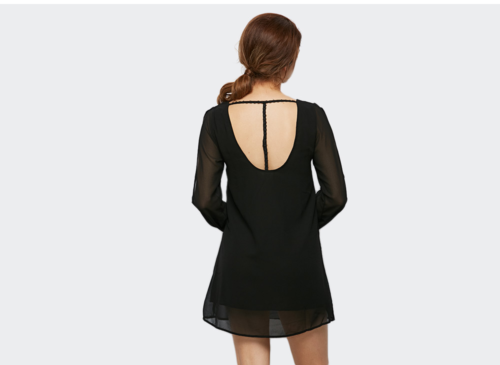 Sexy Backless Pure Color Cut Out Hollow Women Chiffon Dress