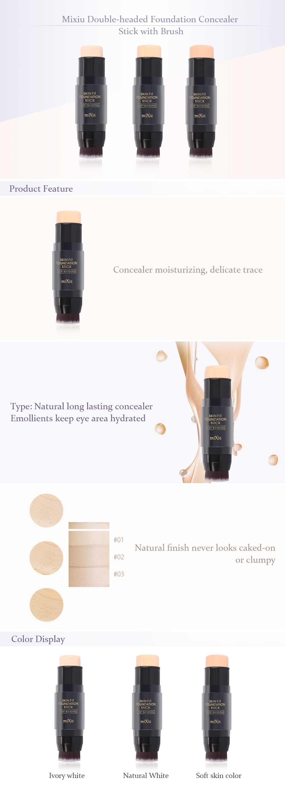 Mixiu Double-headed Covered Freckles Black Circles Foundation Stick with Brush