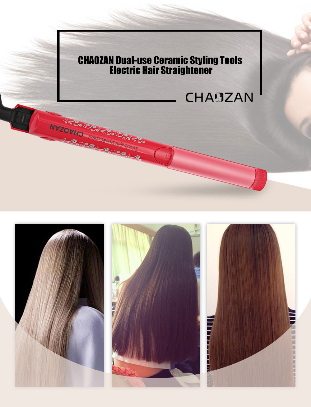 CHAOZAN 2 in 1 Ceramic Coating Styling Tools Electric Hair Straightener