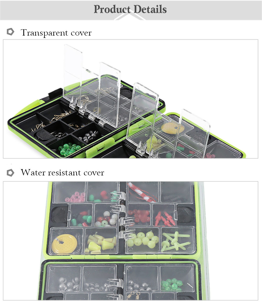 HENGJIA Multifunctional Double Side Water Resistant Fish Bait Tackle Storage Box with Accessories