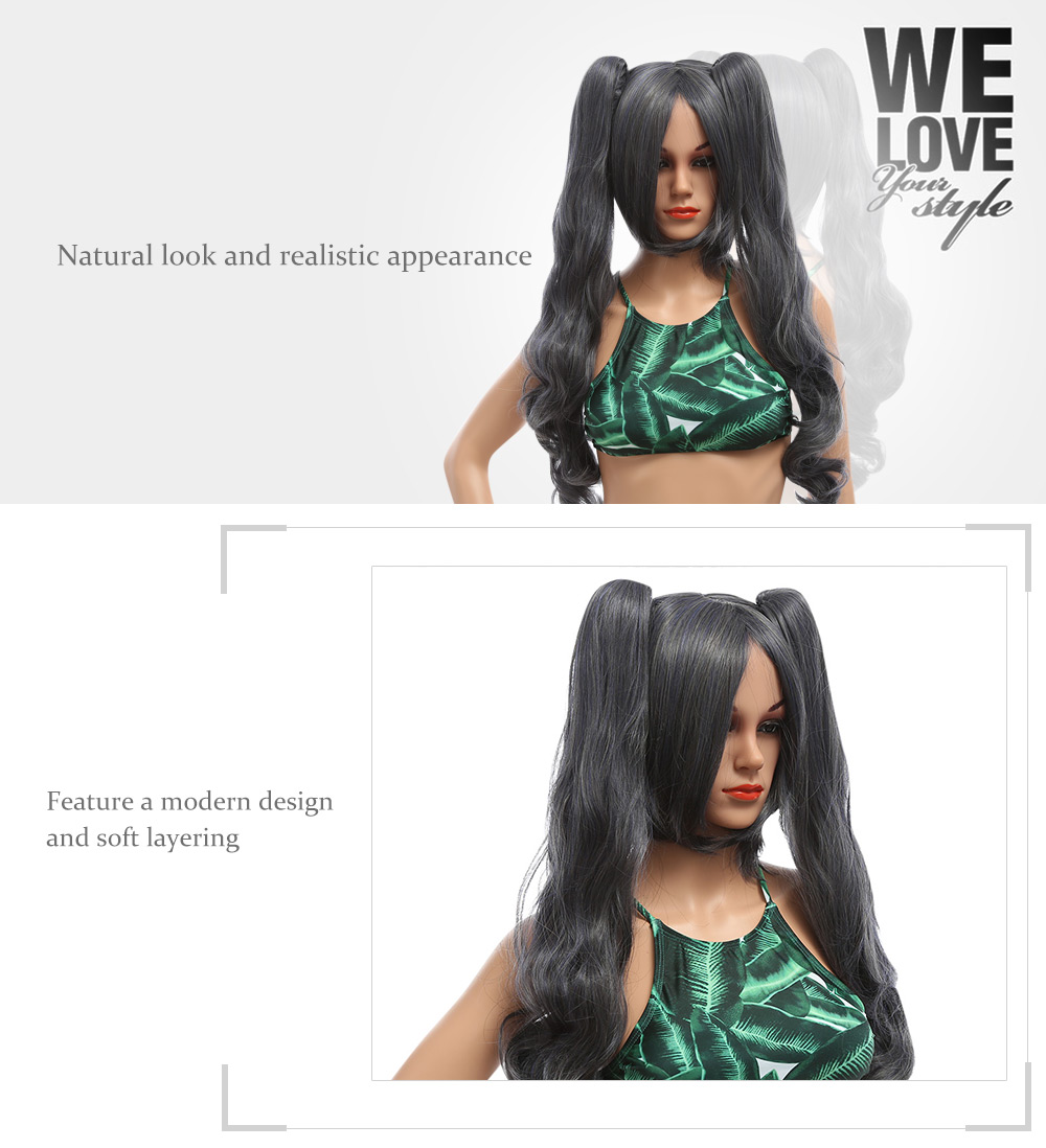 Piaoliujia Natural Medium Wavy Deep Gray Wigs with 2 Ponytails for Charles Black Deacon Figure