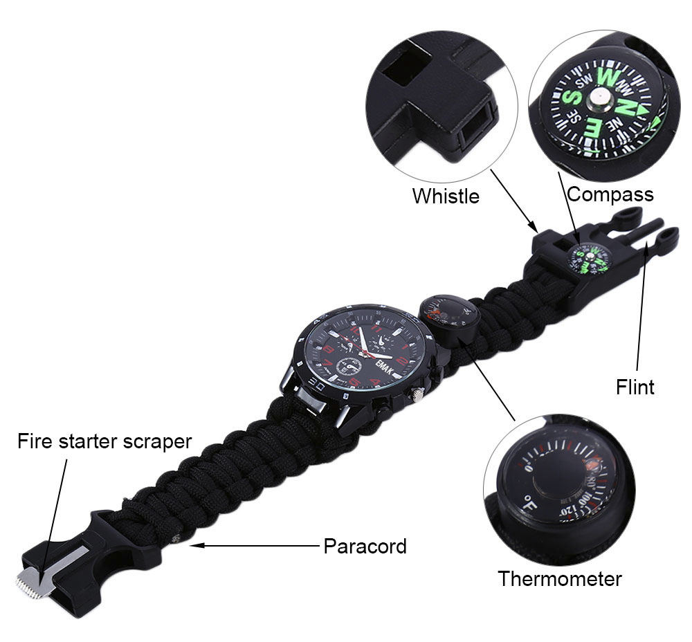 EMAK Multifunctional Survival Paracord Bracelet Scraper Whistle Thermometer Flint Fire Starter Gear Bangle Watch