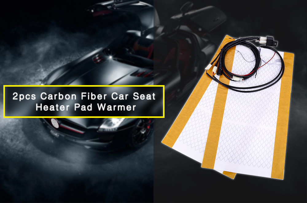 2pcs Car Seat Heater Universal Round Switch Carbon Fiber Heated Pad Warmer