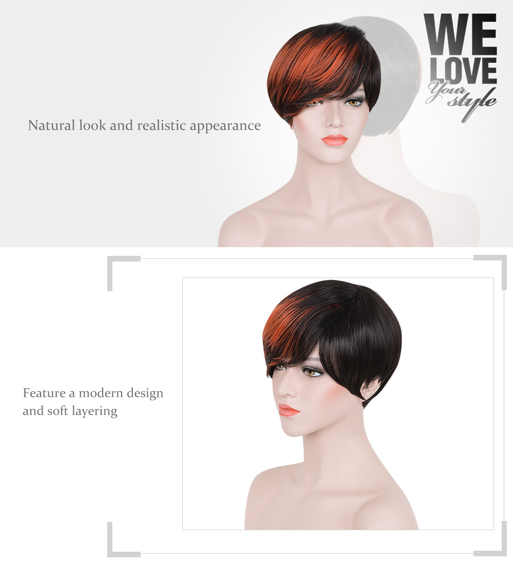 Short Side Bangs Mixed Colors Black Orange Synthetic Wigs