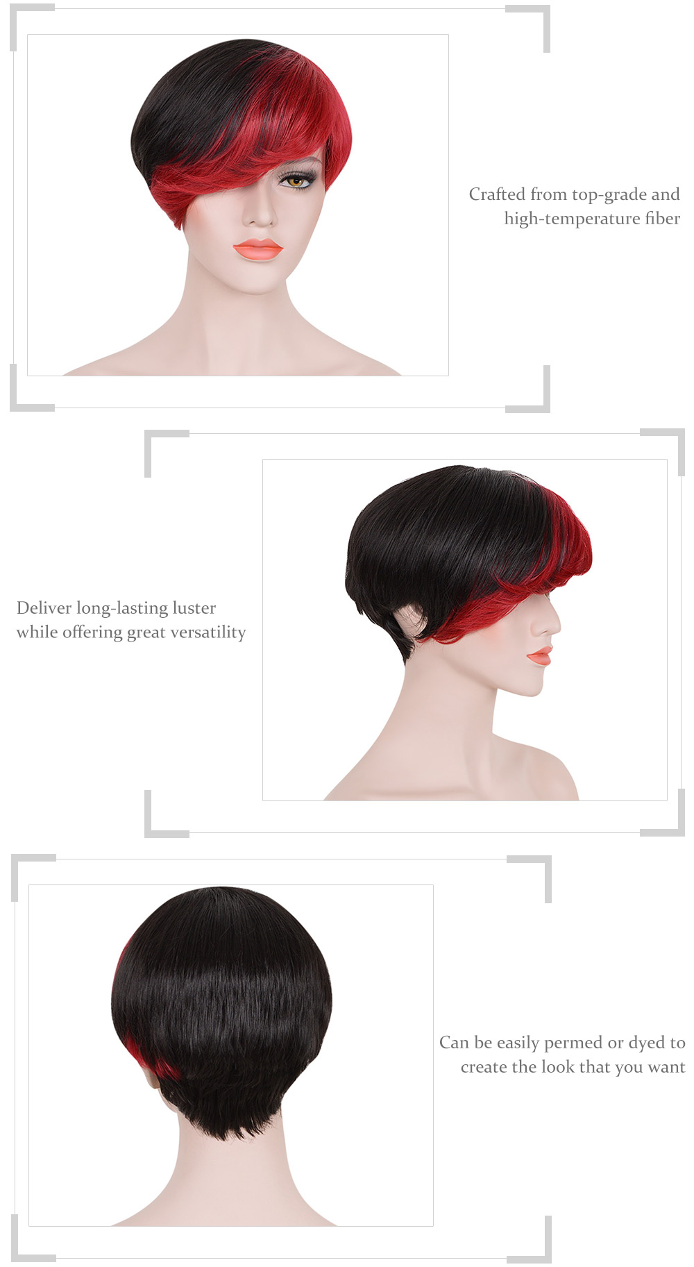 Short Side Bangs Mixed Colors Black Red Synthetic Wigs