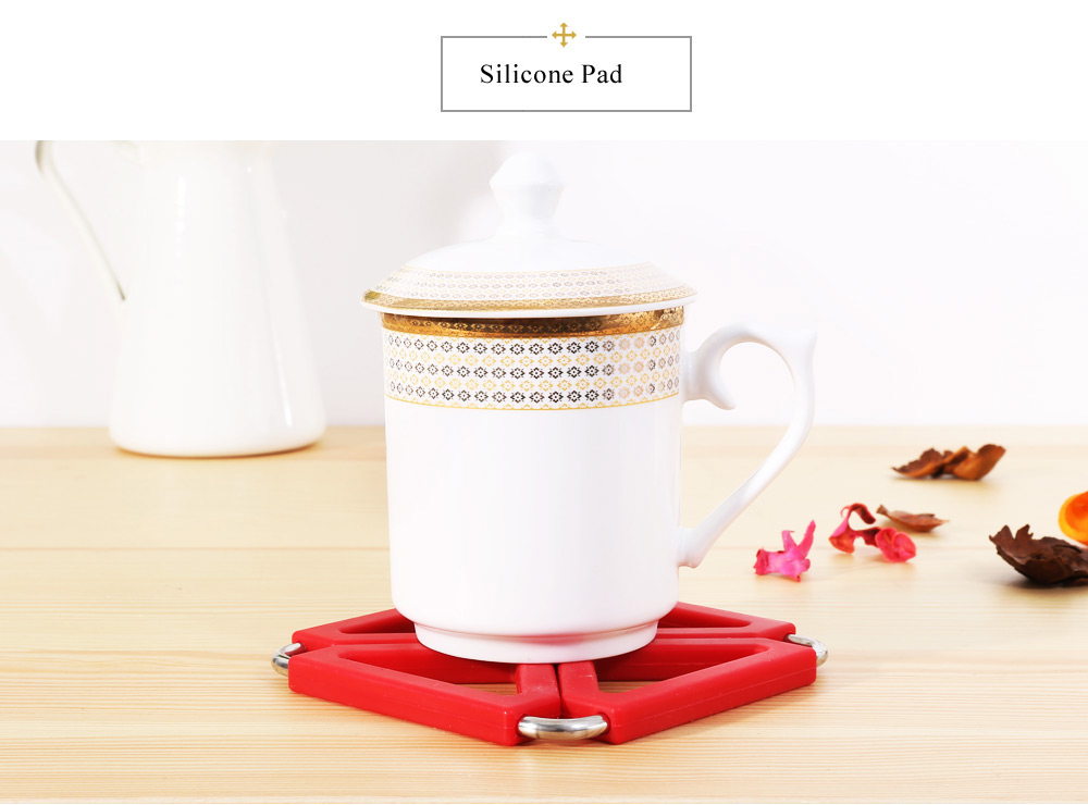Expandable Pot Holder Stainless Steel Silicone Gel Heat Insulation Pad