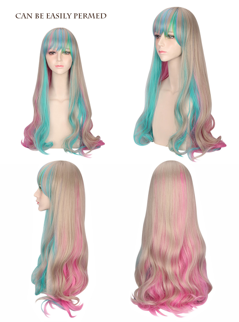 Piaoliujia Harajuku Long Full Bangs Colorful Synthetic Wig for Women